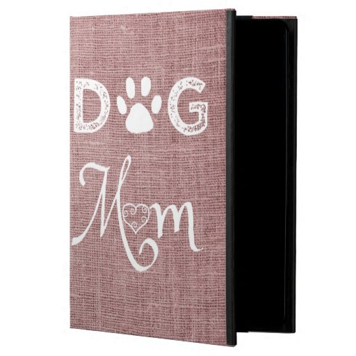Pink Burlap Dog Mom Case For iPad Air
