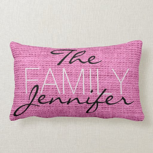 Pink Burlap Rustic Linen Monogram Throw Pillow Zazzle