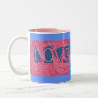 Pink Burn Out Pattern Peace Love Destiny Art Two-Tone Coffee Mug