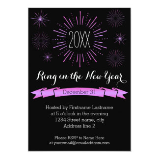 Pink Bursts New Year's Eve Party Invitation
