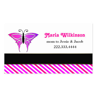 Pink Burtterfly Mommy Card Double-Sided Standard Business Cards (Pack Of 100)