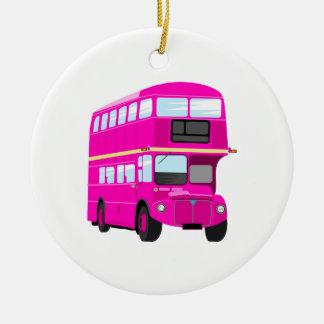 Pink Bus Ceramic Ornament