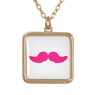 Pink Bushy Mustache Moustache Funny Angel Wings Gold Plated Necklace