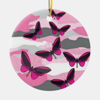 PINK BUTTERFLIES AND CAMO PRINT CHRISTMAS ORNAMENT