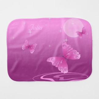 Pink Butterflies Baby Burp Cloth