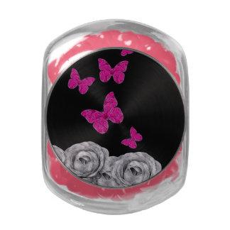 Pink Butterflies Black Roses Glass Candy Jar