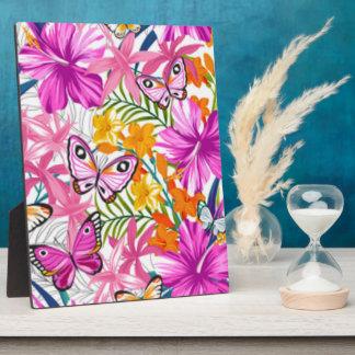 Pink Butterflies Flower Pattern Print Design Plaque