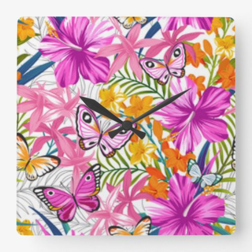 Pink Butterflies Flower Pattern Print Design Square Wall Clock