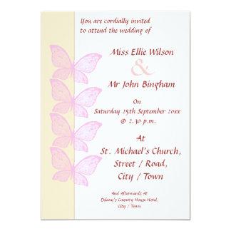 Pink Butterflies 5x7 Paper Invitation Card