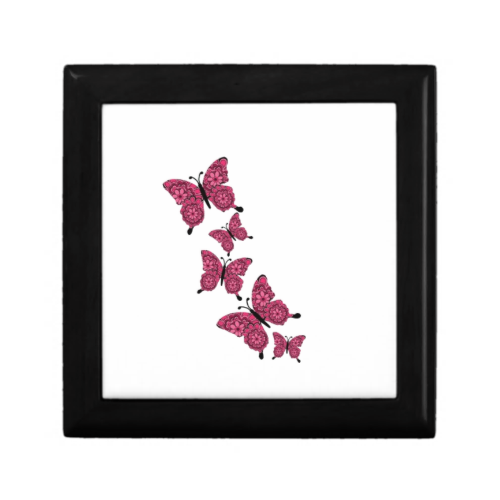 pink butterflies jewelry boxes