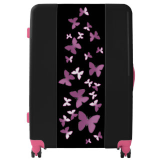 pink butterflies, luggage (3 sizes)