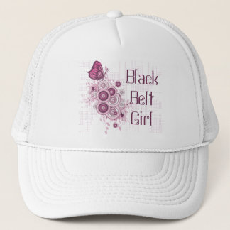 Pink Butterflies Martial Arts Black Belt Girl Trucker Hat