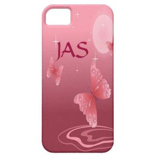 Pink Butterflies & Moonbeams Custom Monogram iPhone SE/5/5s Case