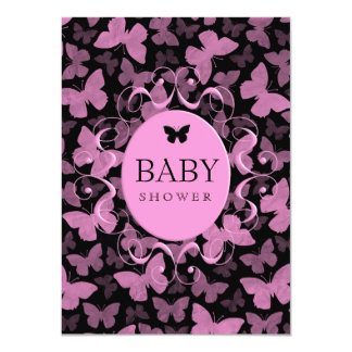Pink Butterflies on Black Card