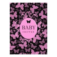 Pink Butterflies on Black Custom Announcements
