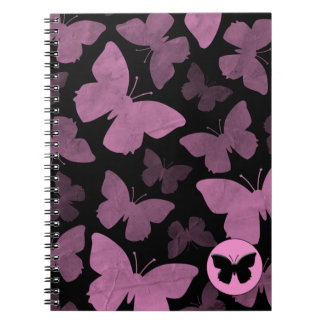 Pink Butterflies on Black Note Books