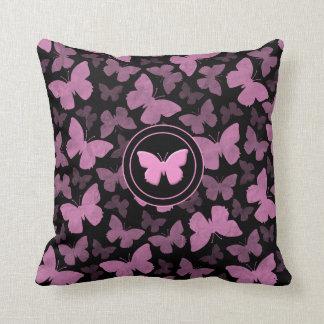 Pink Butterflies on Black Throw Pillow