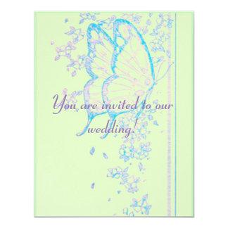 Pink Butterflies on Green Wedding Invitation