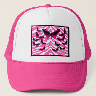 PINK BUTTERFLIES ON ZEBRA PRINT TRUCKER HAT
