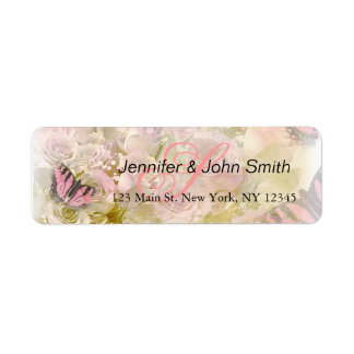 Pink butterflies roses label