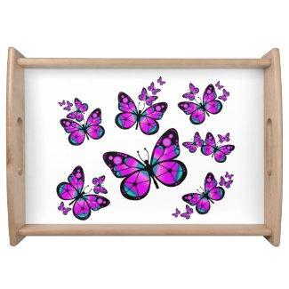 Pink Butterflies Serving Platter