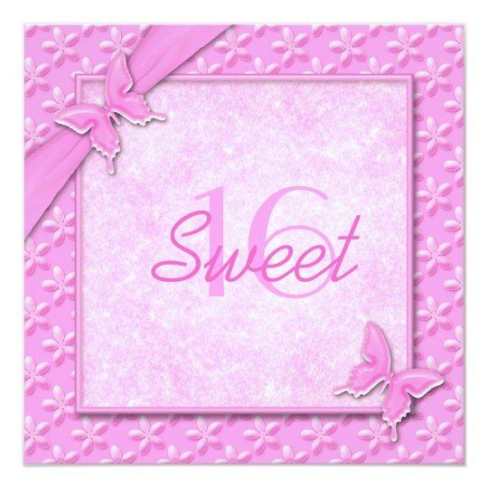 Pink Butterflies Sweet Sixteen Invitation