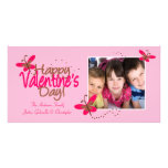 PINK Butterflies Valentine's Day Customized Photo Card