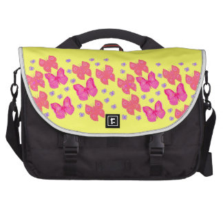 Pink butterflies yellow background Laptop Bag