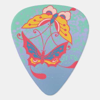 Pink Butterflies, Yellow Flowers Guitar Pick