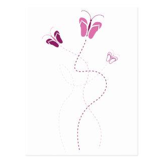 Pink butterflops flying together. postcard