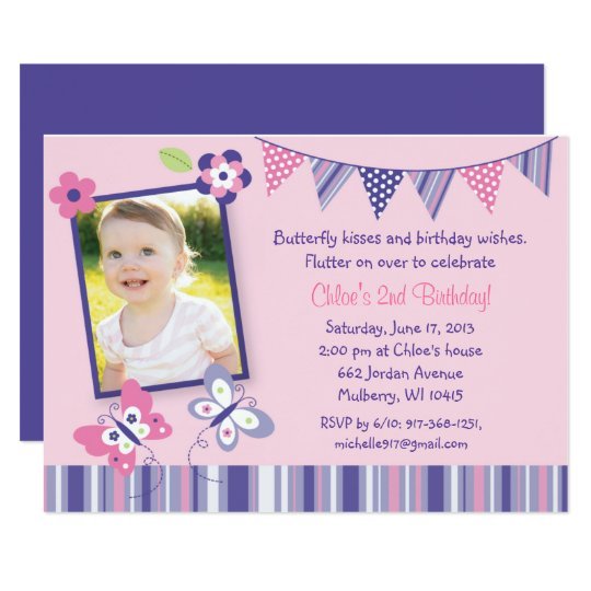 Pink Butterfly 1st Birthday Invitation