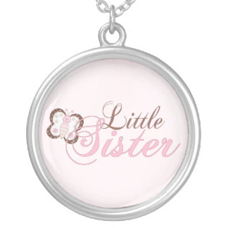 Pink Butterfly 2 Little Sister Round Pendant Necklace