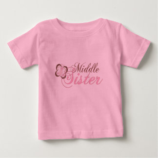 Pink Butterfly 2 Middle Sister Baby T-Shirt