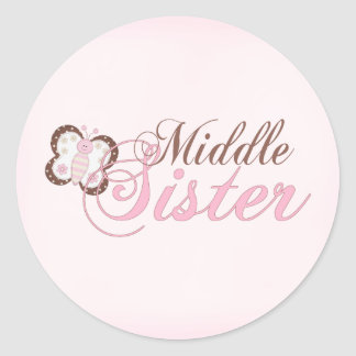 Pink Butterfly 2 Middle Sister Classic Round Sticker