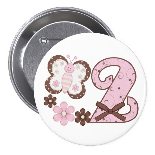 Pink Butterfly 2nd Birthday Button Buttons