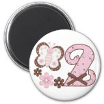Pink Butterfly 2nd Birthday Fridge Magnet