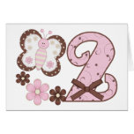 Pink Butterfly 2nd Birthday Invitations Greeting Cards