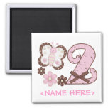 Pink Butterfly 2nd Birthday Refrigerator Magnets