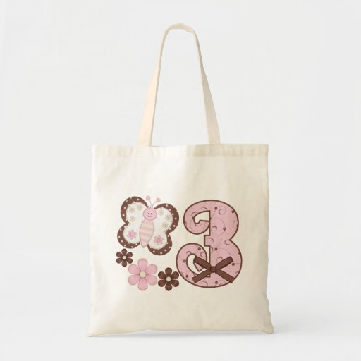 Pink Butterfly 3rd Birthday Bag