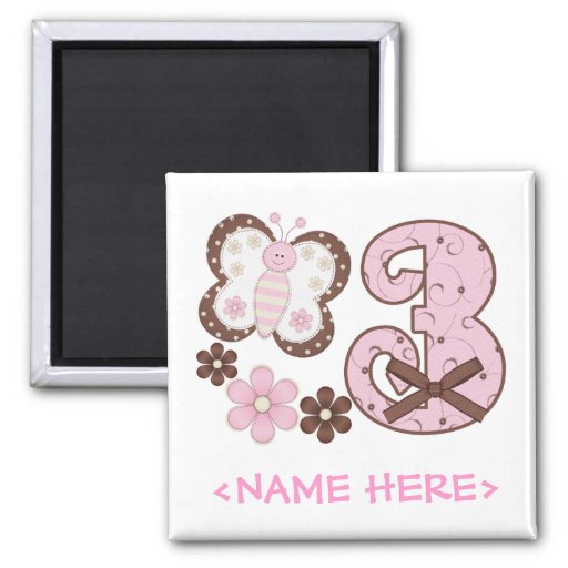 Pink Butterfly 3rd Birthday Magnet