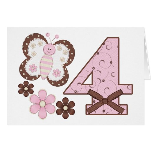 Pink Butterfly 4th Birthday Invitations Stationery Note Card