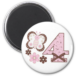 Pink Butterfly 4th Birthday 2 Inch Round Magnet