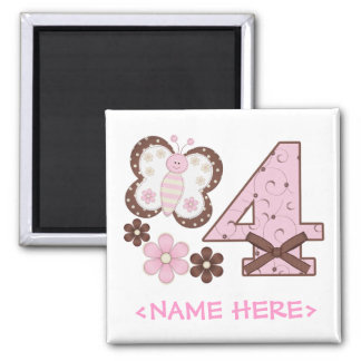 Pink Butterfly 4th Birthday 2 Inch Square Magnet