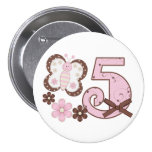 Pink Butterfly 5th Birthday Button Pinback Button
