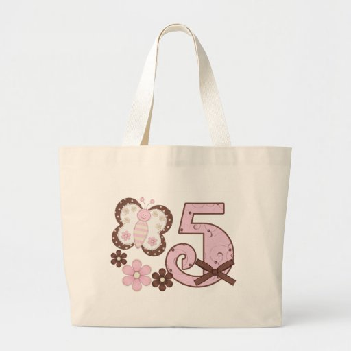 Pink Butterfly 5th Birthday Canvas Bags