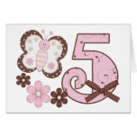 Pink Butterfly 5th Birthday Invitations Card