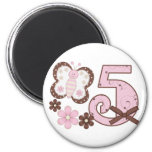 Pink Butterfly 5th Birthday Magnet