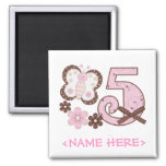 Pink Butterfly 5th Birthday Refrigerator Magnets