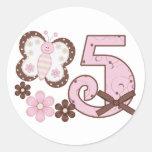 Pink Butterfly 5th Birthday Sticker
