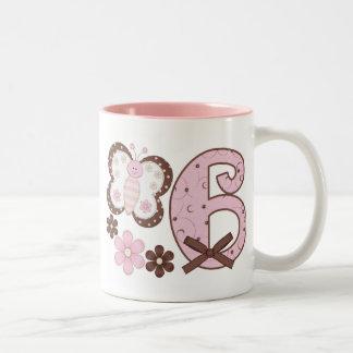 Pink Butterfly 6th Birthday Two-Tone Coffee Mug